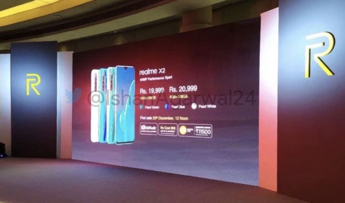 Realme X2 to be sold in India at Rs 19,999 in India: Price leak