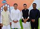 Rahul Gandhi with Pandit Sukh Ram and Aashray Sharma